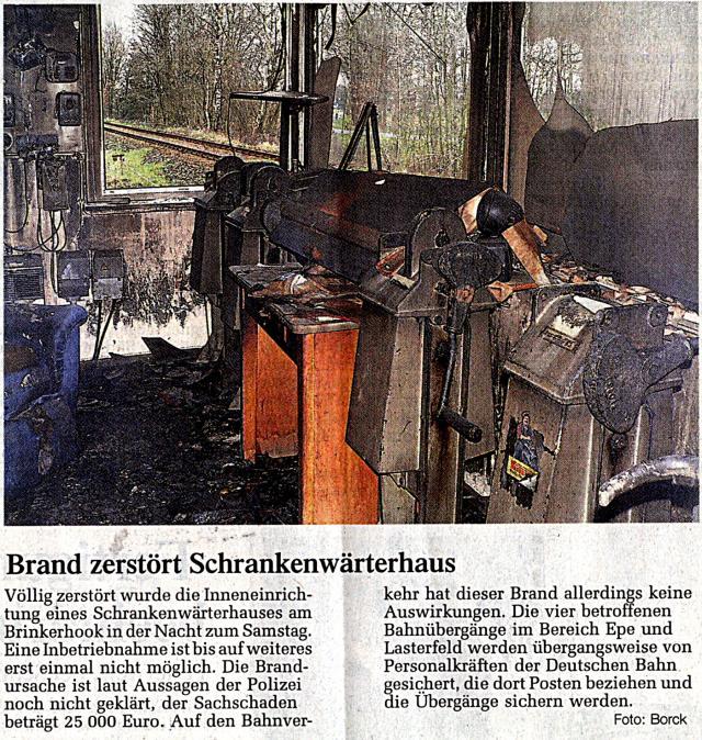 Brand eines Schrankenwärterhauses