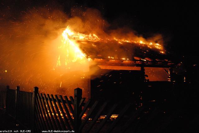 Brand einer Blockhütte