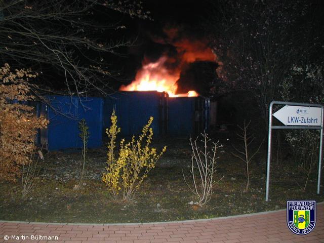 Wieder Containerbrand auf dem Gelände der Fa. ALTEX