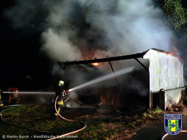 Schuppen am Riekenhof in Brand geraten