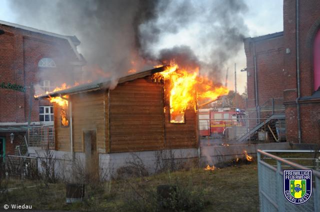 Brennt Holzhütte am Rock und Popmuseum