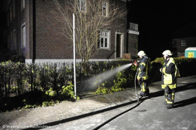 Acht Meter Hecke brennen an der Steinfurter Straße