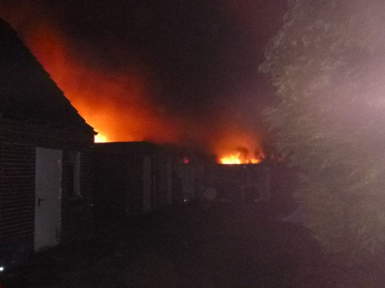 Gartenhütten, Bienenstände, Kaninchenställe und Unterstände brannten