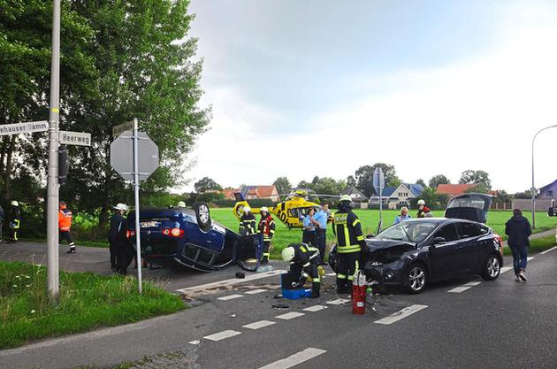 Verkehrsunfall auf dem Heerweg Ecke An der Eßseite