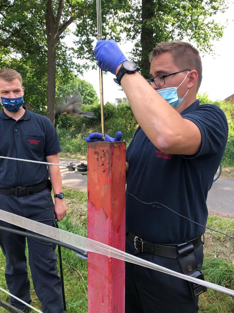 Feuerwehr befreite Kohlmeise aus Notlage