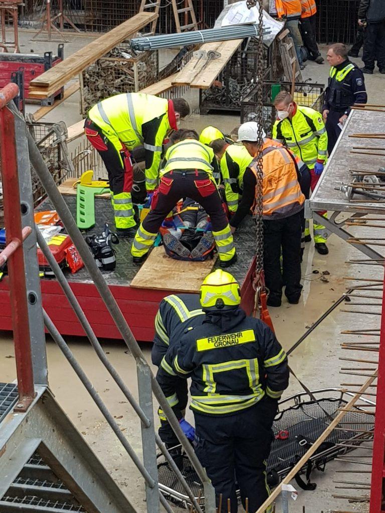 Betriebsunfall auf einer Baustelle an der Gasstraße
